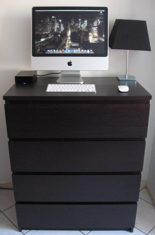 diy standing desk of an ikea dresser