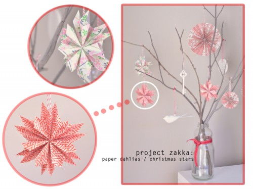 Paper dahlia Christmas star (via whitefishandthingsblog)