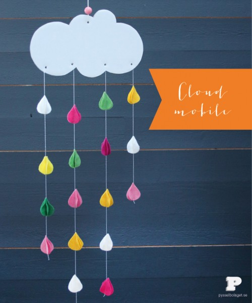 cloud and raindrops mobile (via pysselbolaget)