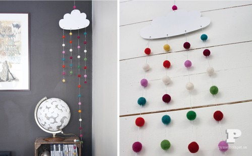 cloud and felt pompom mobile (via pysselbolaget)