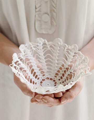 DIY Starched Doily Basket