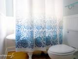 stenciled shower curtain