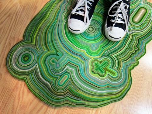 colorful felt scraps rug