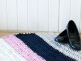 striped crochet rug