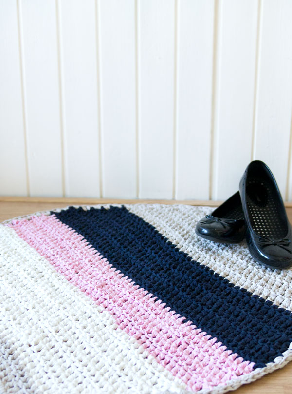 striped crochet rug