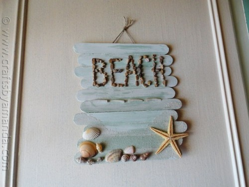DIY Stick Beach Plaque For Beach-Inspired Decor
