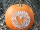pumpkin string nail art