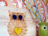 owl string nail art