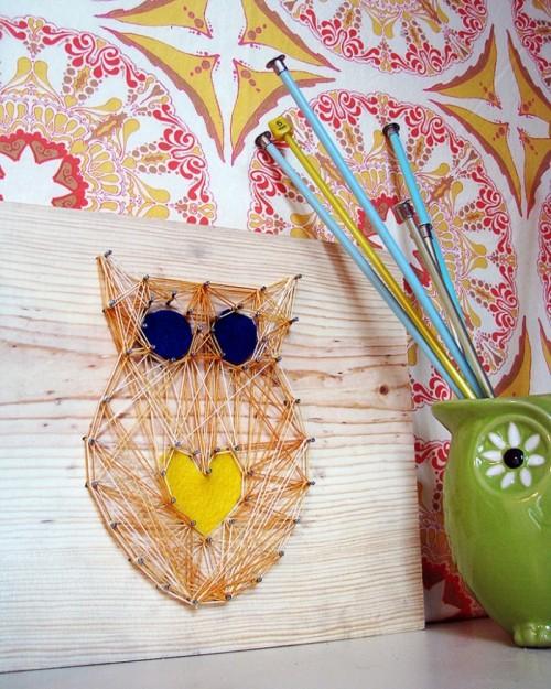 owl string nail art (via sewletscook)