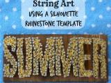 SUMMER string nail art with rhinestones