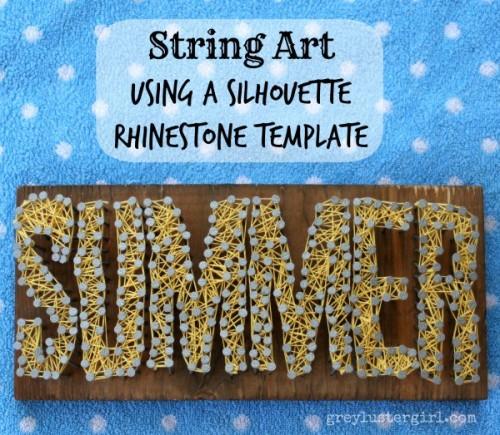 SUMMER string nail art with rhinestones (via greylustergirl)