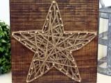 rustic star string nail art