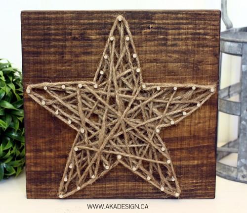 rustic star string nail art (via akadesign)