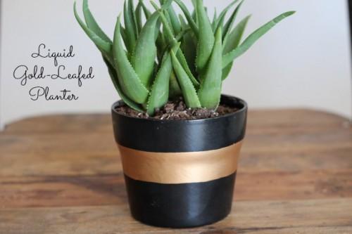 Diy Striped Planter With Liquid Gold Leaf