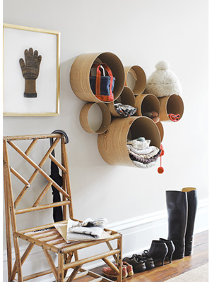 DIY Stylish Wood Wall Storage System