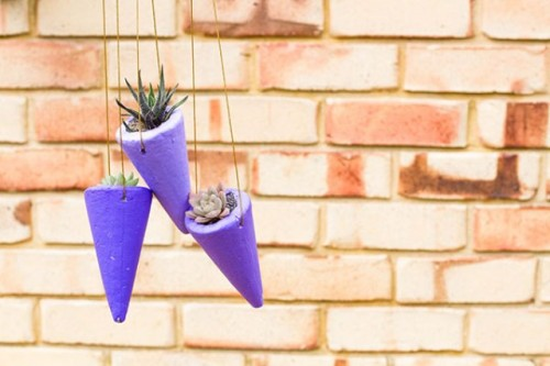 DIY Styrofoam Cone Succulent Planters