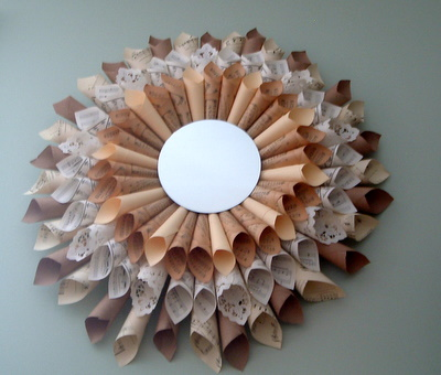 Diy Sunburst Mirror Of Paper Ephemera