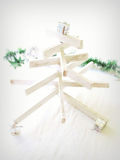 DIY Tabletop Christmas Tree Of Window Trim