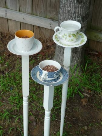 Diy tea cup bird feeders shelterness - Bird feeder garden designs ...