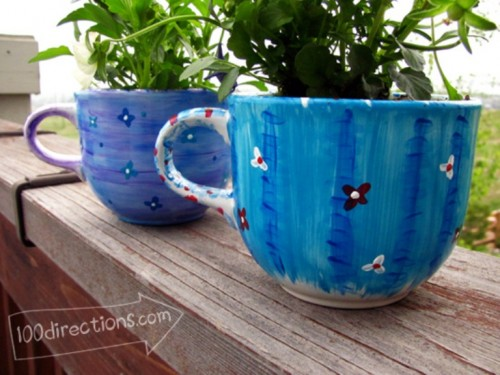 DIY Tea Cup Flower Pots