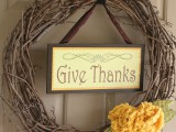 Thanksgiving wreath and sign
