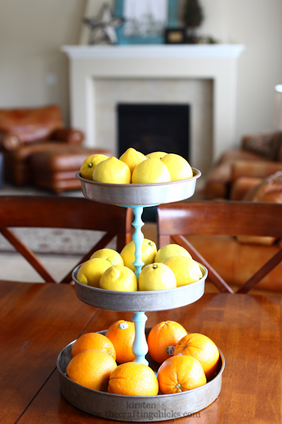 DIY Tiered Fruit Vase Of Pie Tins