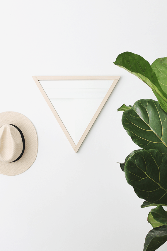 Picture Of diy triangle mirror with a wooden frame  1