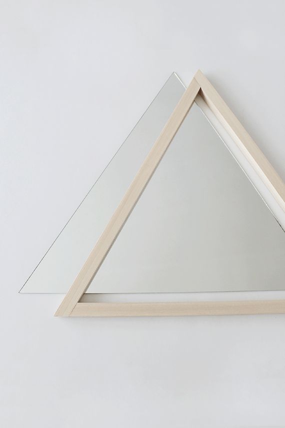 diy triangle mirror with a wooden frame