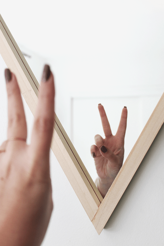 Picture Of diy triangle mirror with a wooden frame  4