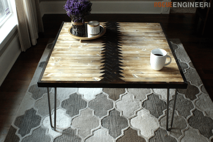 Picture Of diy tribal coffee table with hairpin legs  5