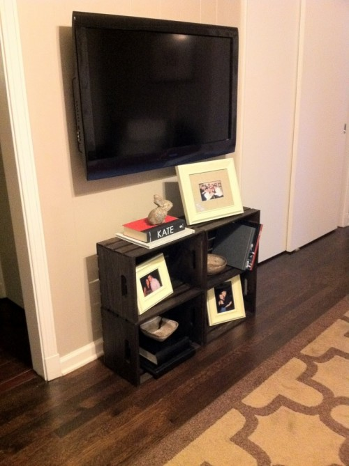 DIY TV Cabinet Of Several Crates