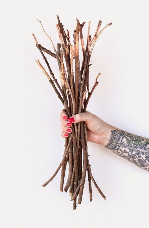 copper and gold foil branches (via poppytalk)