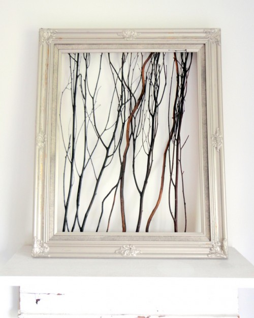 framed twig art (via cleverlyinspired)