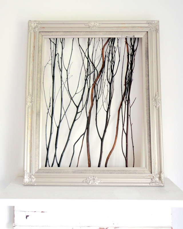 picture of framed twig art