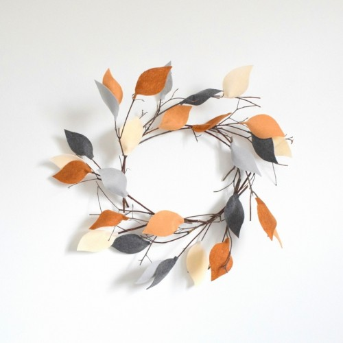 twig and felt leaves wreath (via northstory)