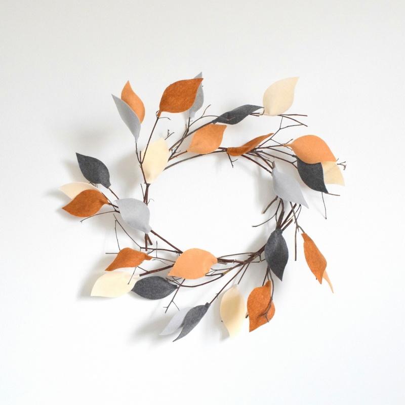 twig and felt leaves wreath