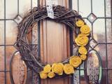 twig and felt flowers wreath