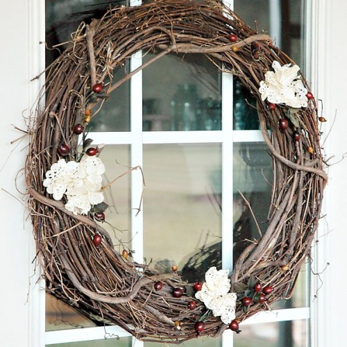 Twig And Lace Wreath (via Blog)
