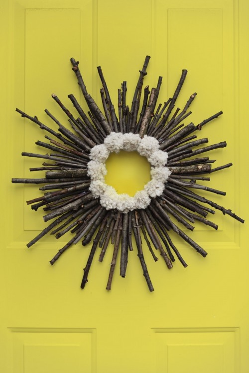 twig and pompom wreath (via abeautifulmess)