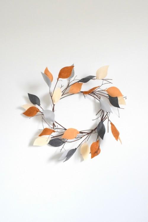 twig wreath with felt leaves (via northstory)