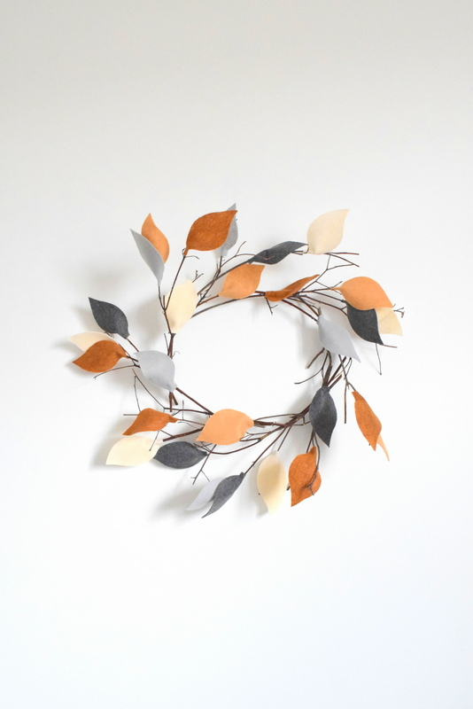 twig wreath with felt leaves