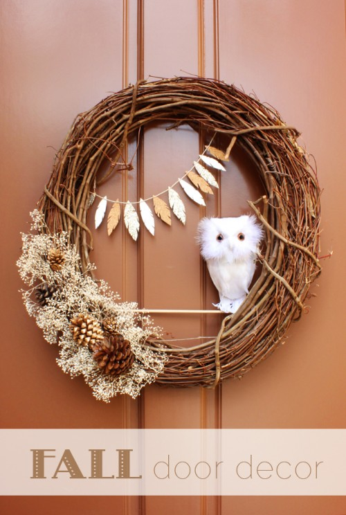 twig and faux owl wreath