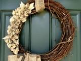 twig and burlap wreath