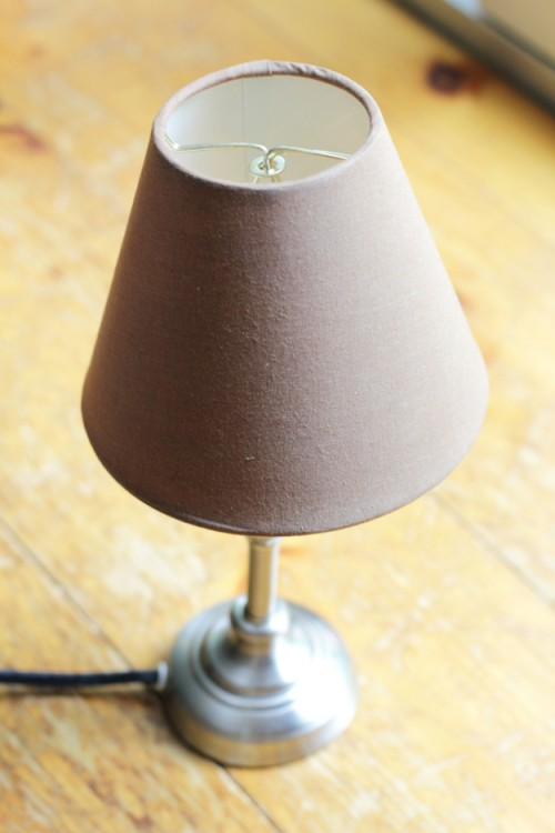 DIY Upcycled Lampshade With Stripes And Lace
