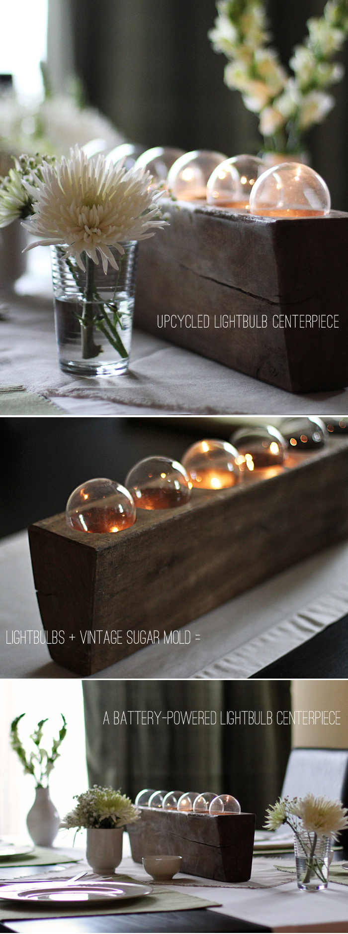 DIY Upcycled Light Bulb Centerpiece
