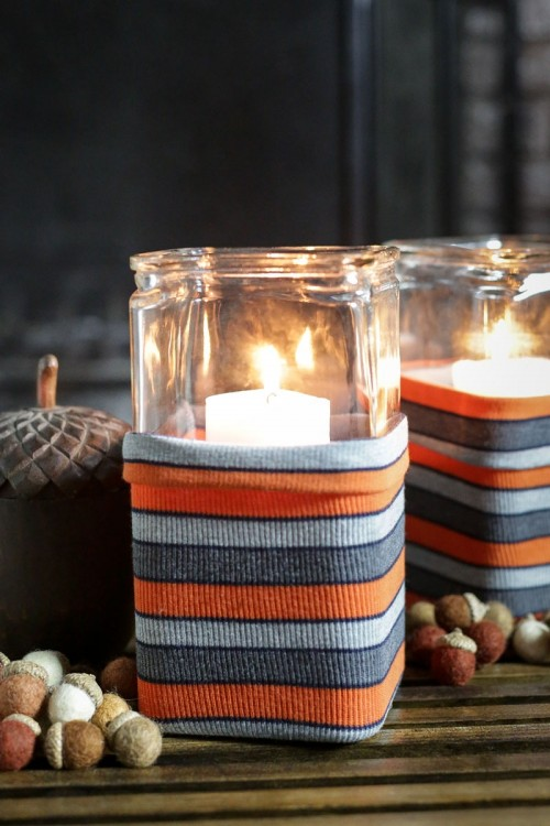 DIY Upcycled Sweater Hurricane Candleholder Wraps