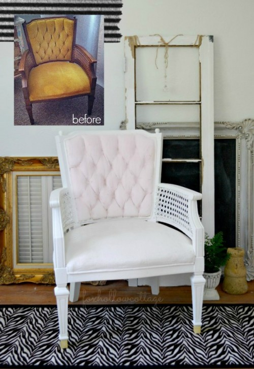 velvet upholstery painted chair (via foxhollowcottage)