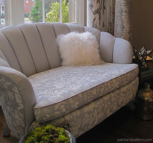 stenciled upholstered sofa (via paintandpattern)
