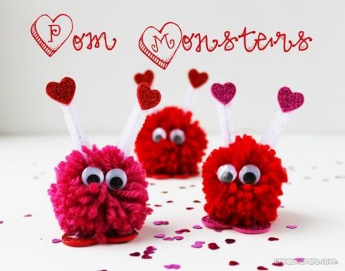 DIY Valentine Pom Pom Monsters