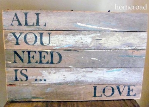All You Need Is Love sign (via hometalk)